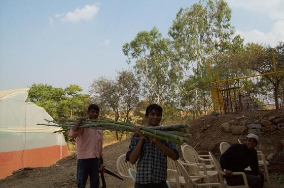 Students bringing freshly cut bamboo from the grove at Vigyan Ashram, Pabal