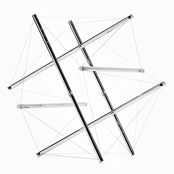6-Strut Tensegrity, a stainless steel and steel wire sculpture by Buckminster Fuller, circa 1980. Size 14.25 in. x 17.25 in. x 15.75 in.