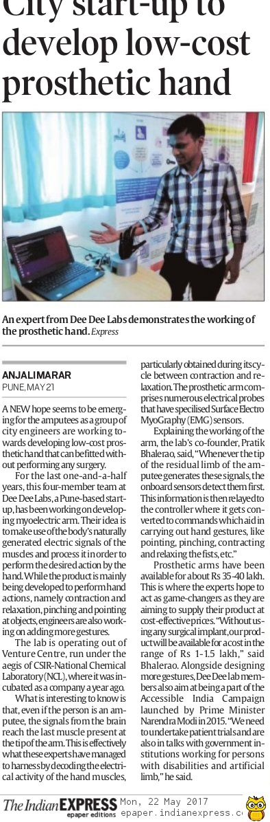 Pune startup Dee Dee Labs to develop low-cost prosthetic hand. An article by Indian Express reporter Anjali Marar.